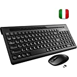 VicTsing Tastiera Wireless PC, Kit Tastiera e Mouse Senza Fili (8 Tasti di Scelta Rapida Mouse Ultra-Silenzioso) per Windows XP/Vista / 7/8/10, Linux, Mac, PC. Layout Italiano, Nero
