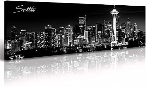 Seattle City Skyline Wall Art Black And White Canvas Prints Panorama Cityscape Picture Night View Painting Poster Modern Artwork Home Decor For Office Living Room Ready To Hang 13 8 X