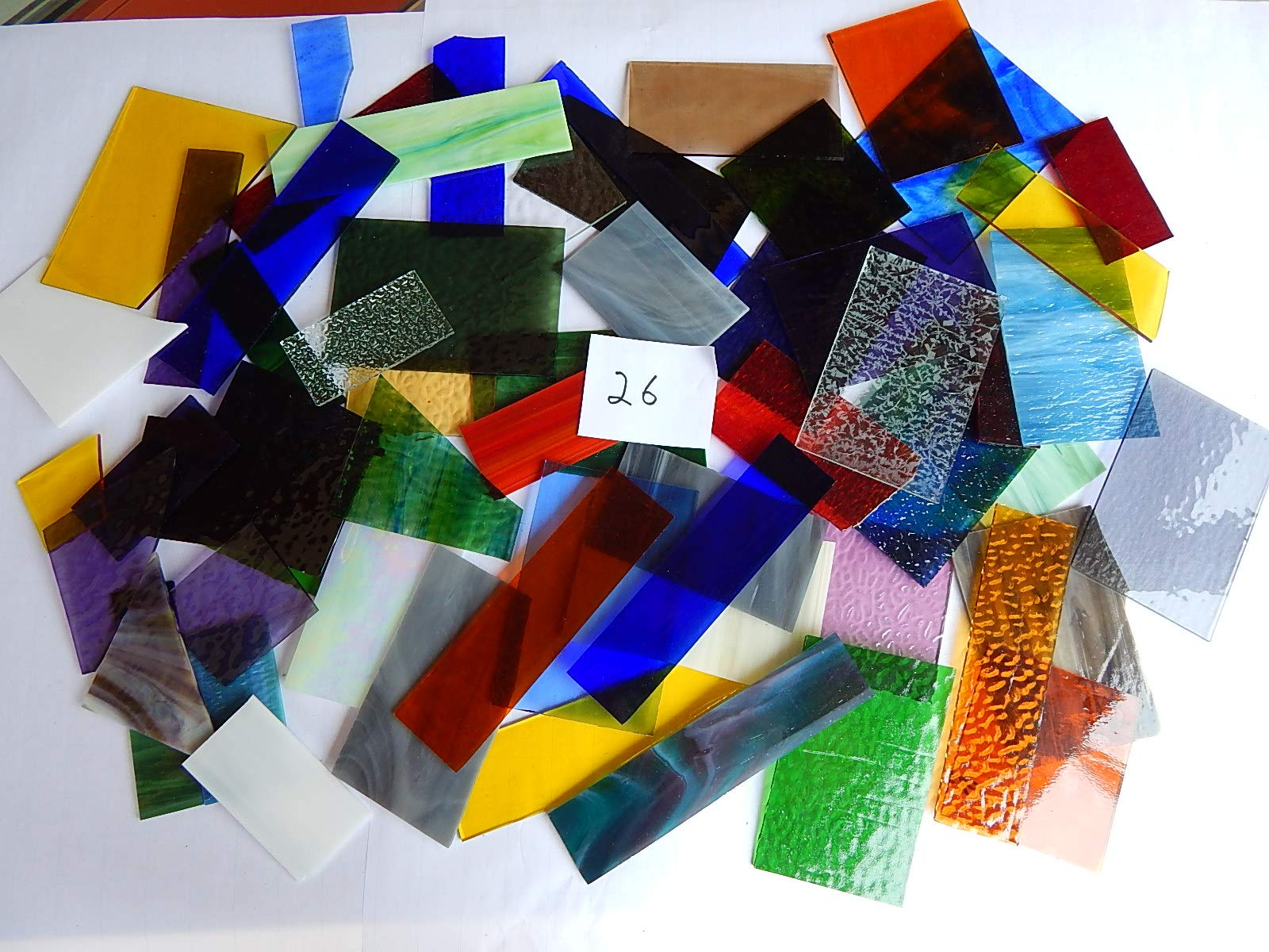 Over 10 LBS Larger Pieces Spectrum Wissmach Stained Glass Mosaic Scrap LOT#26