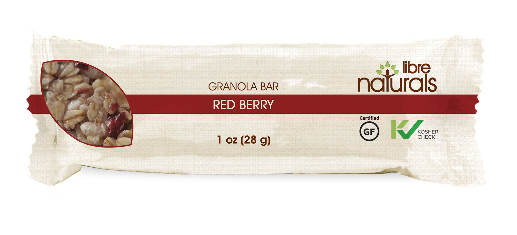 Nut Free, Gluten Free >> Red Berry Vegan Granola Bar - Libre Naturals, 28 gram, 100 Bar Bulk Case