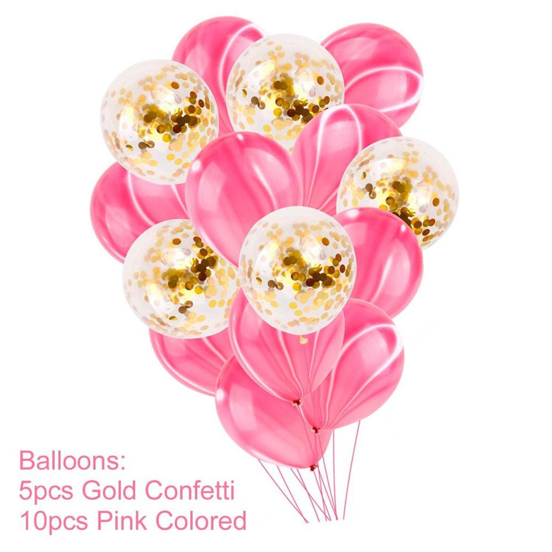 Amazon.com: Michael Palmer Pink Happy Birthday Banner Gold Confetti ...