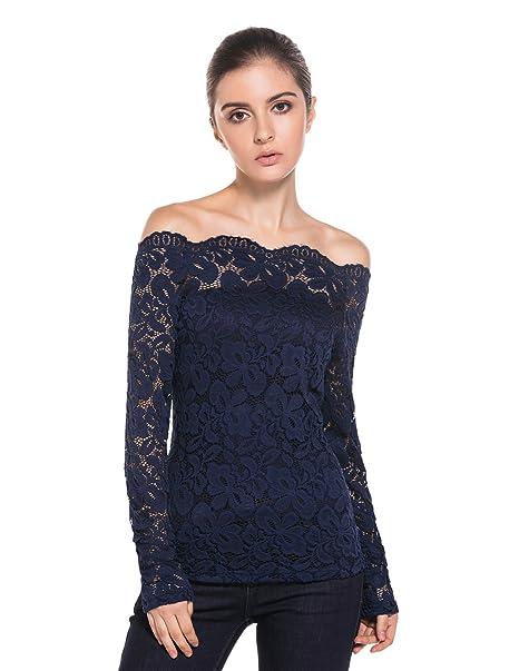 MODETREND Mujeres Camisetas Manga Larga Blusas de Encaje Flores Lace Crochet sin Tirantes Camisas: Amazon.es: Ropa y accesorios