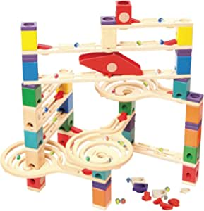 Hape Quadrilla Wooden Marble Run Construction - Vertigo - Quality Time Playing Together Wooden Safe Play - Smart Play for Smart Families,Multicolor