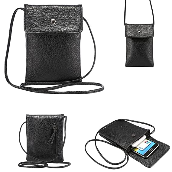 3e6f939a0c4b WaitingU Universal Crossbody Cell Phone Bag PU Leather Carrying Cases  Credit Card Holder Shoulder Pouch Bag for iPhone 6/6S Plus 6/6S Samsung  Galaxy ...