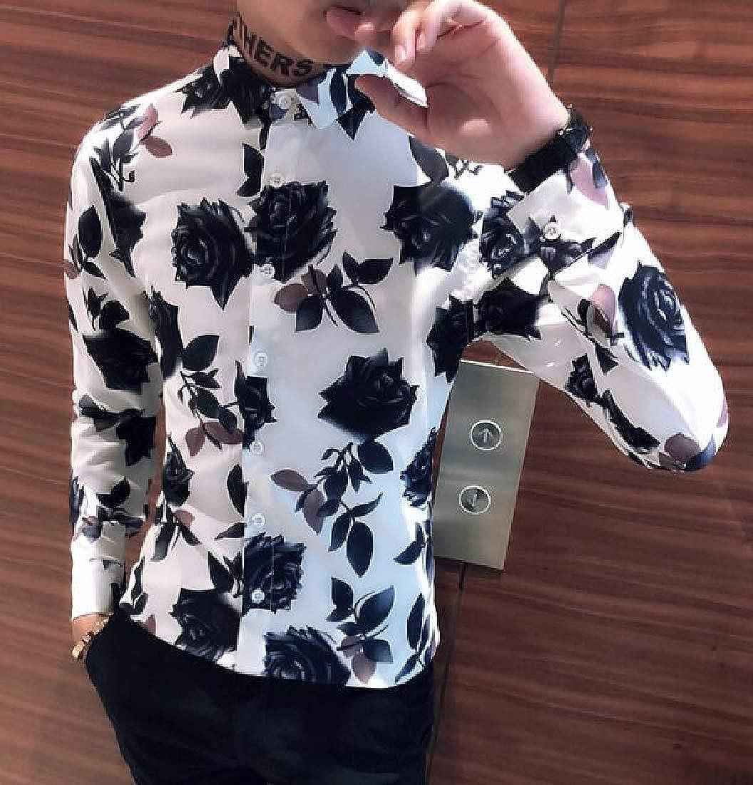 ARTFFEL Men Long Sleeve Rose Digital Print Button Up Regular Fit Button Down Dress Work Shirt