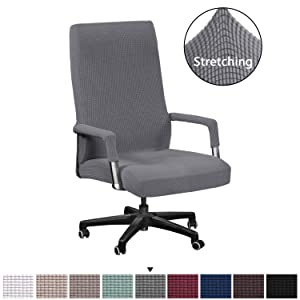Jacquard Spandex Office Chair Cover Computer Chair Universal Boss Chair Cover High Spandex Lycra Chair Cover Machine Washable, Super Soft Bonus with Office Chair Arm Covers, Standard, Gray