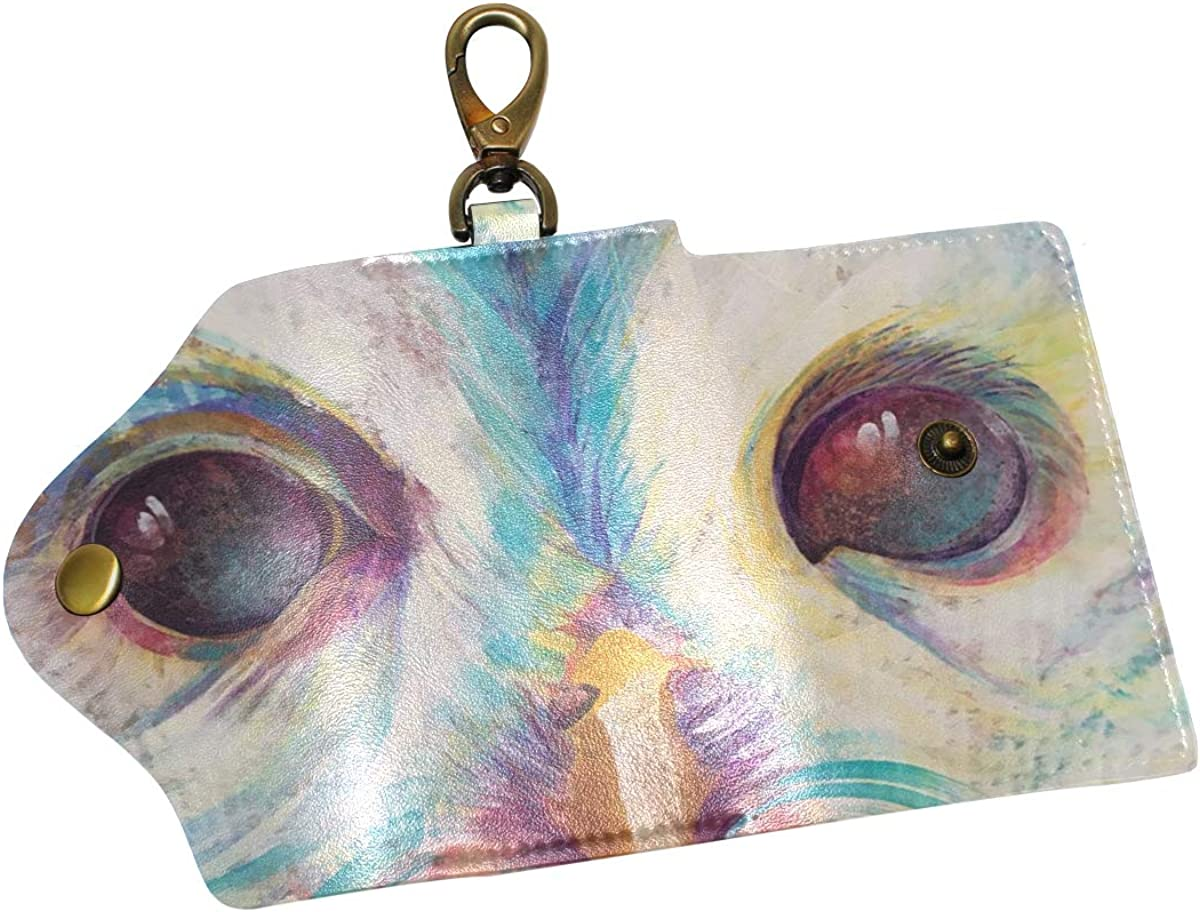 KEAKIA Owl Spirit Leather Key Case Wallets Tri-fold Key Holder Keychains with 6 Hooks 2 Slot Snap Closure for Men Women