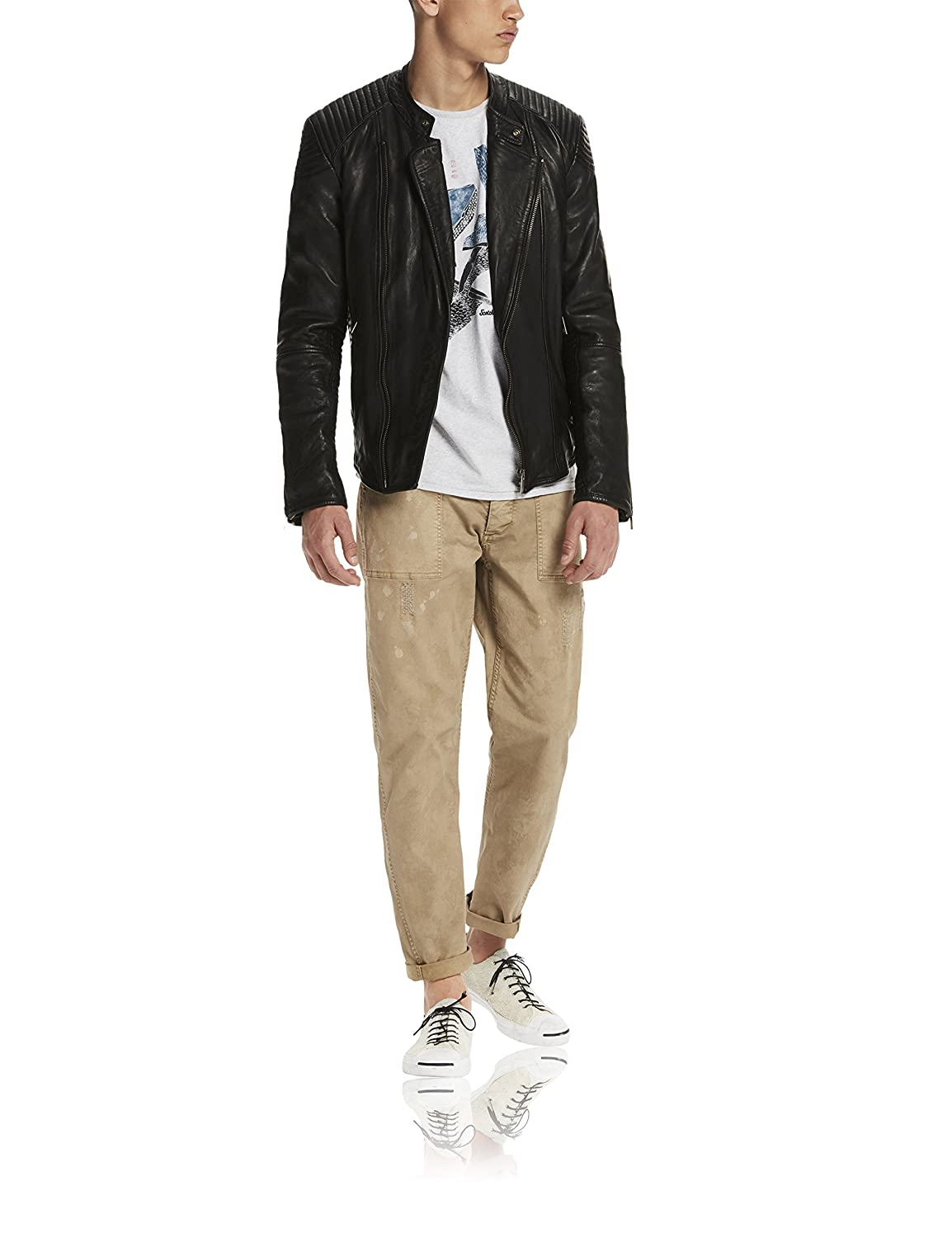 Scotch & Soda Herren Jacke Fitted Leather Biker Jacket with Asymmetric Closure