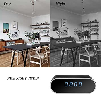Cámara espía ocultada wifi del reloj de alarma, visión nocturna inalámbrica 1080P Cámara de vigilancia de la niñera Video de la seguridad con la detección ...