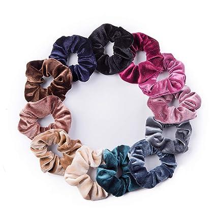 Hair Scrunchies Colors Set Velvet Elastic Ties Scrunchy Bands Ponytail Lot Pack