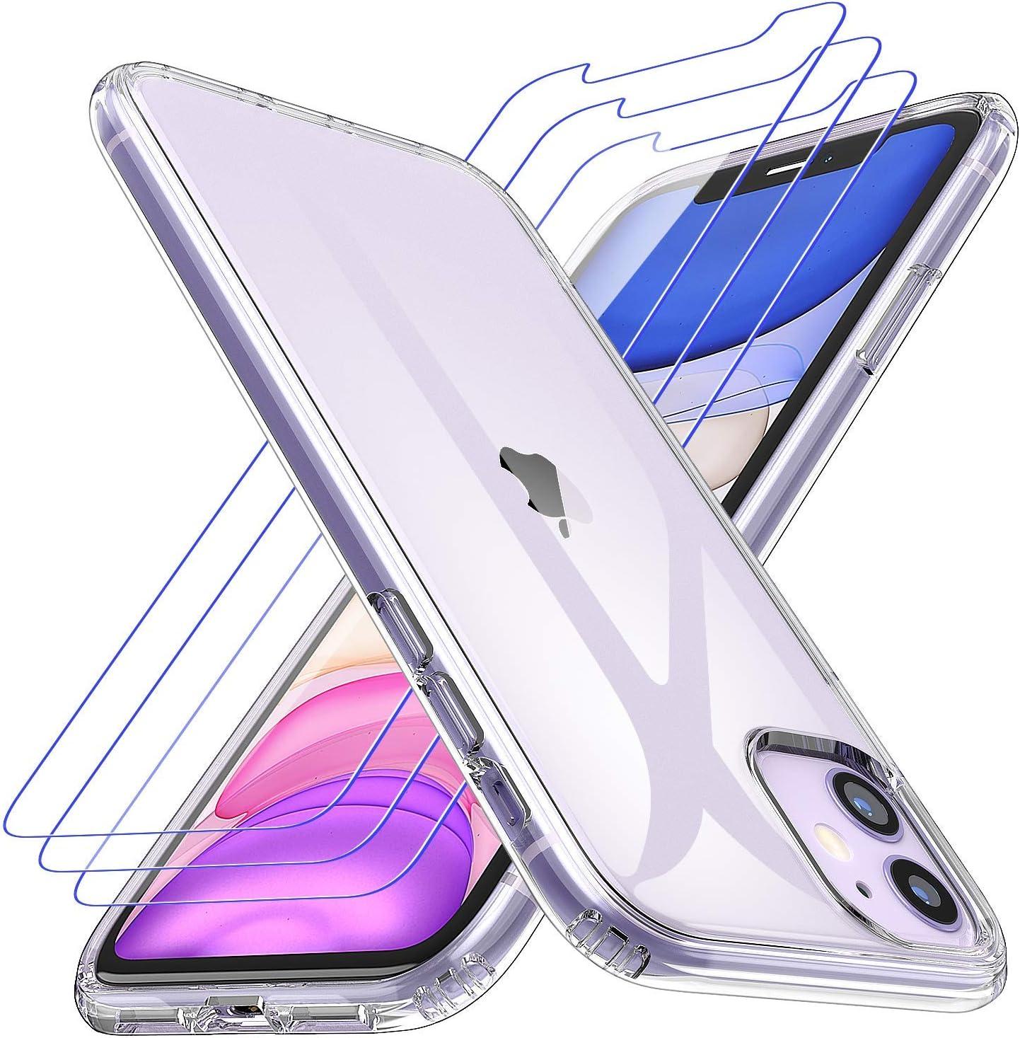 Losvick Coque pour iPhone 11, 2 Pack Verre Trempé Protection écran, Transparent Silicone TPU Etui Protection Housse Bouton Détachable Cover Anti-Choc ...