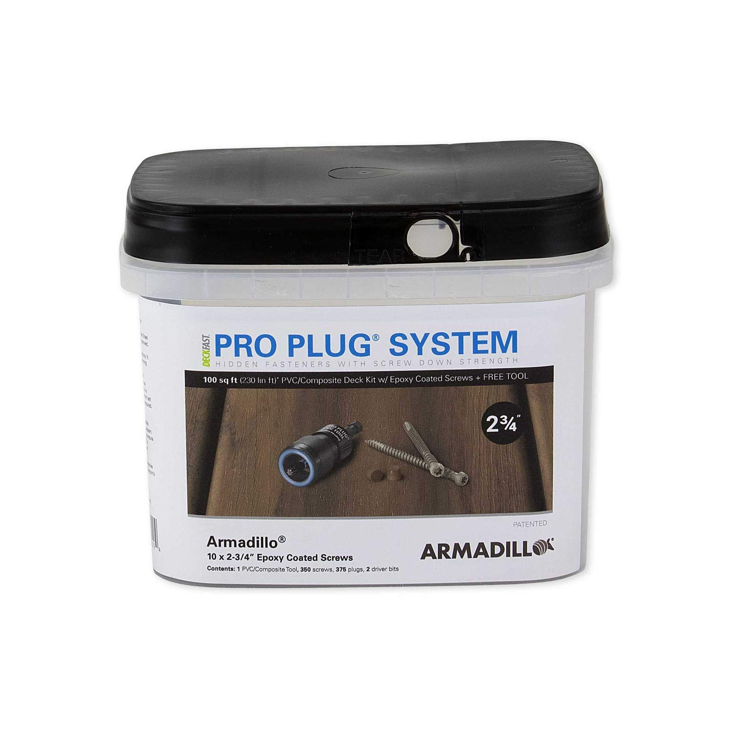 Armadillo Smoke Starborn Pro Plug System for Armadillo Decking Epoxy Finish #10 x 2-3//4 100 Square Feet