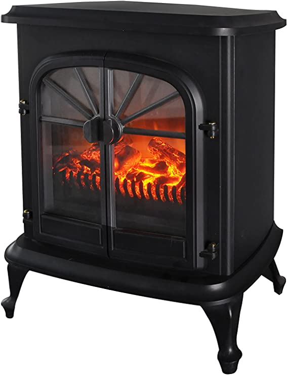 Wellington Free Standing Electric Fireplace Stove 28 Inch Black Portable Electric Vintage Fireplace With Realistic Fire And Logs Adjustable 800 1500w 400 Square Feet Space Heater Fan Amazon Ca Home Kitchen