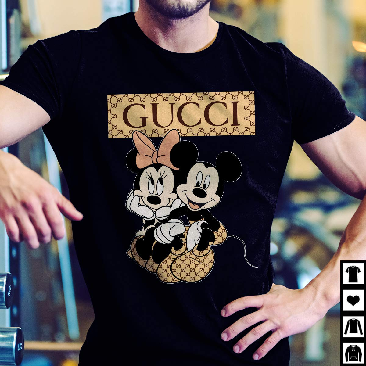 cbcbeba83 Amazon.com: Gucci Disney Juniors Mickey Minnie Mouse Kissing Shirt Gray:  Handmade