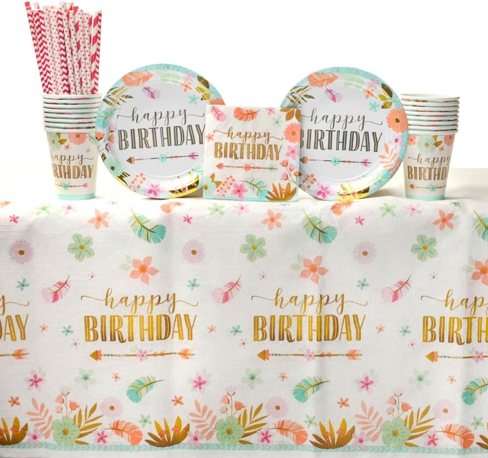 Boho Birthday Girl Party Supplies Pack for 16 Guests: Straws, Dessert Plates, Beverage Napkins, Table Cover, and Cups