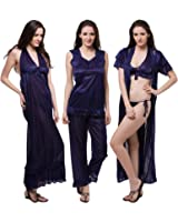 Fasense Satin Nightwear 6 Pcs Set of Nighty Robe Top Pajama Bra & Thong DP114 Nightdresses & Nightshirts at amazon