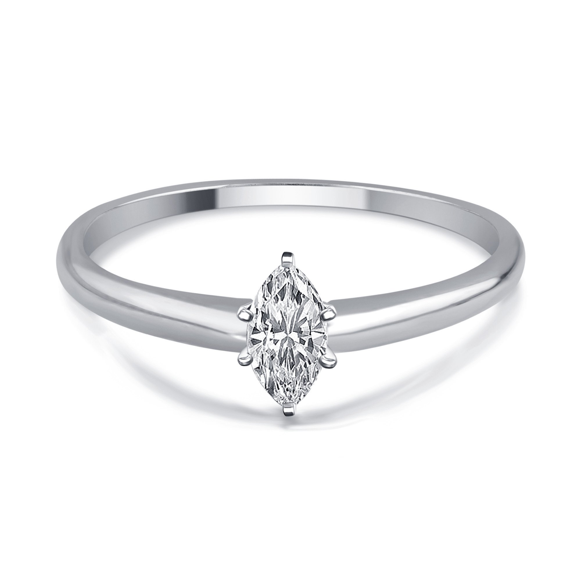 1/4 Cttw Marquise Diamond Solitaire Ring in 14K White Gold by DiamondMuse