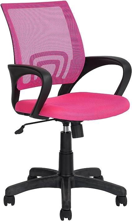 Silla de oficina ajustable y c/ómoda de polipropileno y respaldo de red color rosa asiento giratorio de 360 grados con 5/ruedas