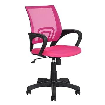 FurnitureR - Silla de oficina ejecutiva ergonómica, para escritorio de ordenador, ajustable, giratoria, malla en la zona lumbar, color rosa: Amazon.es: ...