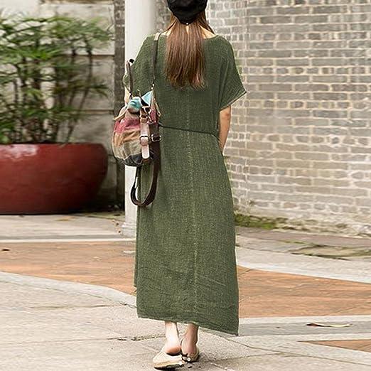 8721b54d2f0 HTHJSCO Women Boho Dress Casual Irregular Maxi Dresses Layered Vintage  Loose Long Sleeve Line Dress