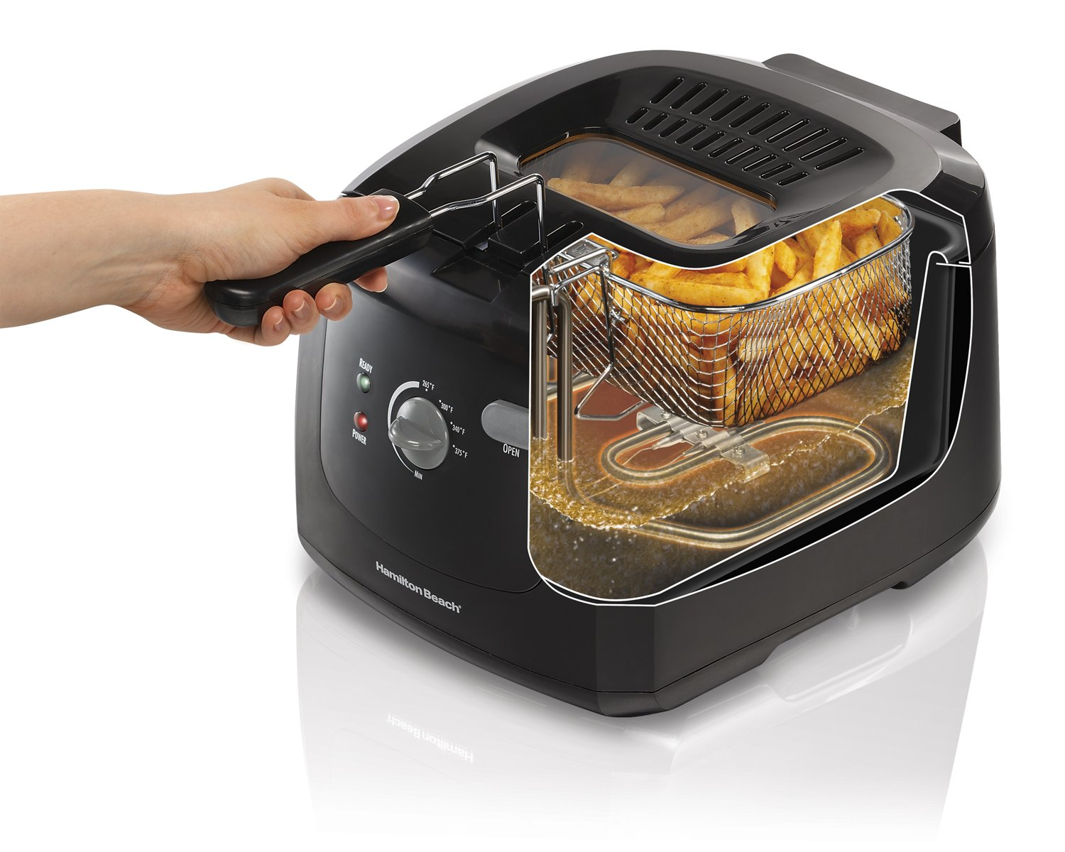 Cool Touch With Basket Professional Grade 2 Liter Oil Capacity 35021 Deep Fryer Hamilton Beach Electric