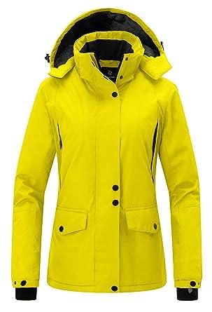 Wantdo Women s Winter Snowboard Jacket Hooded Mountain Waterproof Rainwear  Windproof Winter Coat for Skiing(Yellow f73f47a72