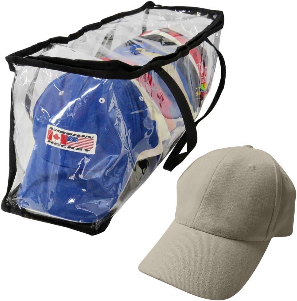 Evelots Sport Hat/Cap Storage Bag-Clear-Baseball-Handles-No Dust/Moisture-15 Hat
