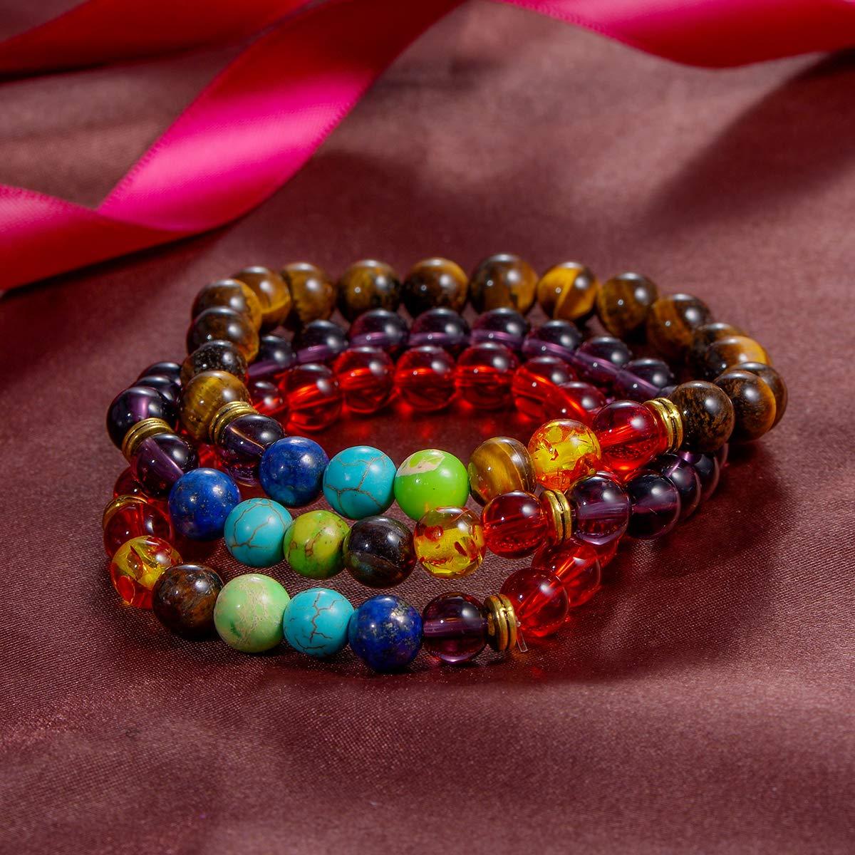 HOUSWEETY 3 Pcs Energy Stone Seven Chakras Beaded Bracelet Turquoise+White Turquoise+Piebald Amber
