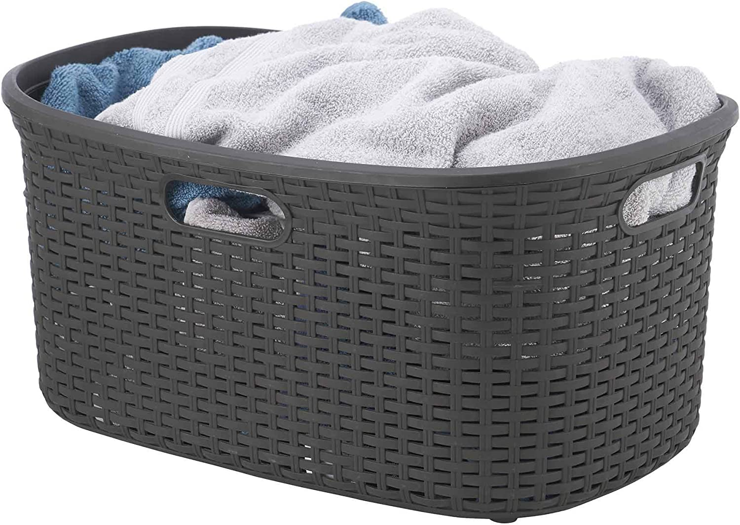 Wicker Laundry Basket Plastic With Cutout Handles 50 Liter, Brown Curved Bin To Keep Dirty Cloths 1.40 Bushel. By Superio