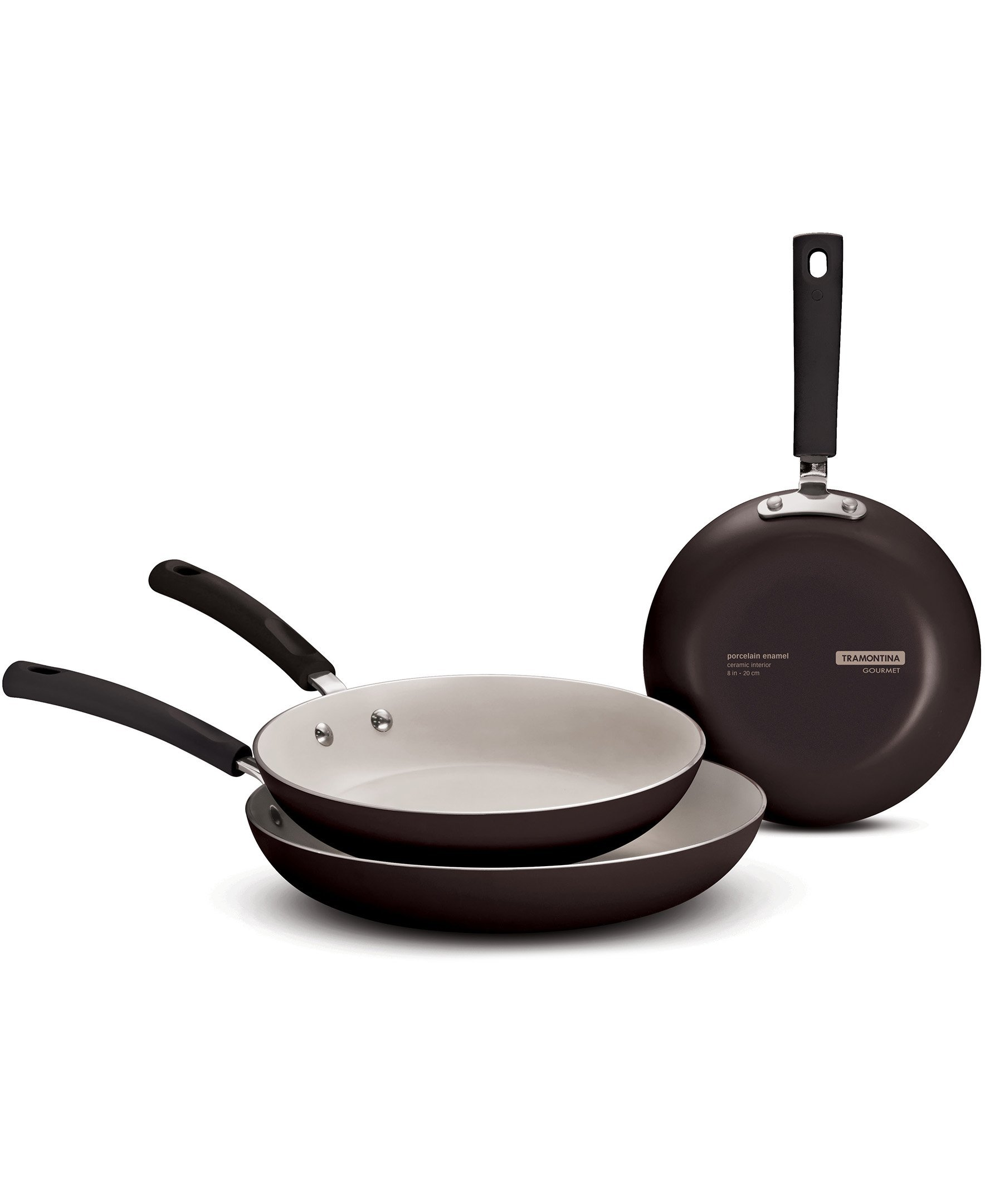 Tramontina 80157/003DS Gourmet Ceramic Aluminum, Made in USA, Black Cherry 3-pack fry pans,