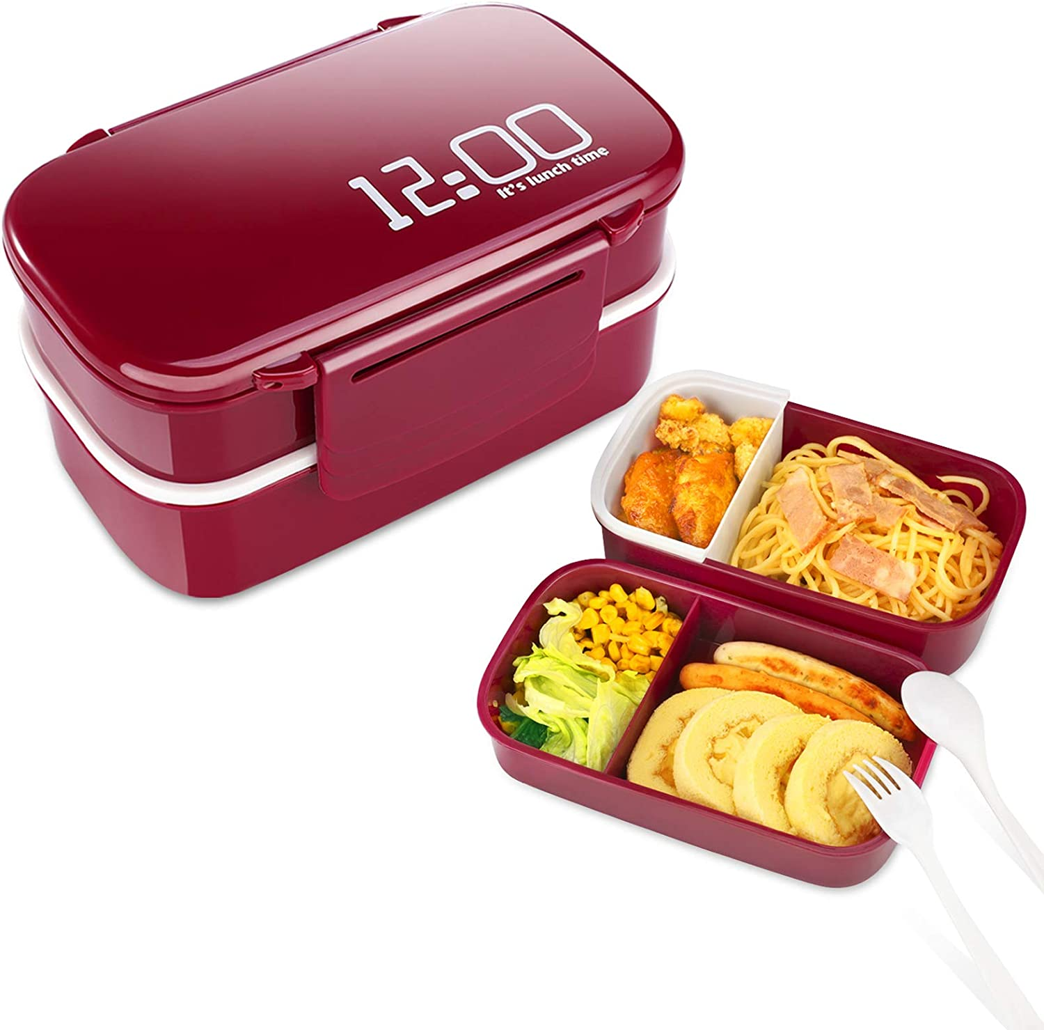 Supplim Lunch Box for Men Women 2-In-1 Compartment Kids Bento Box Reusable Adult Lunch Food Container With Spoon & Fork
