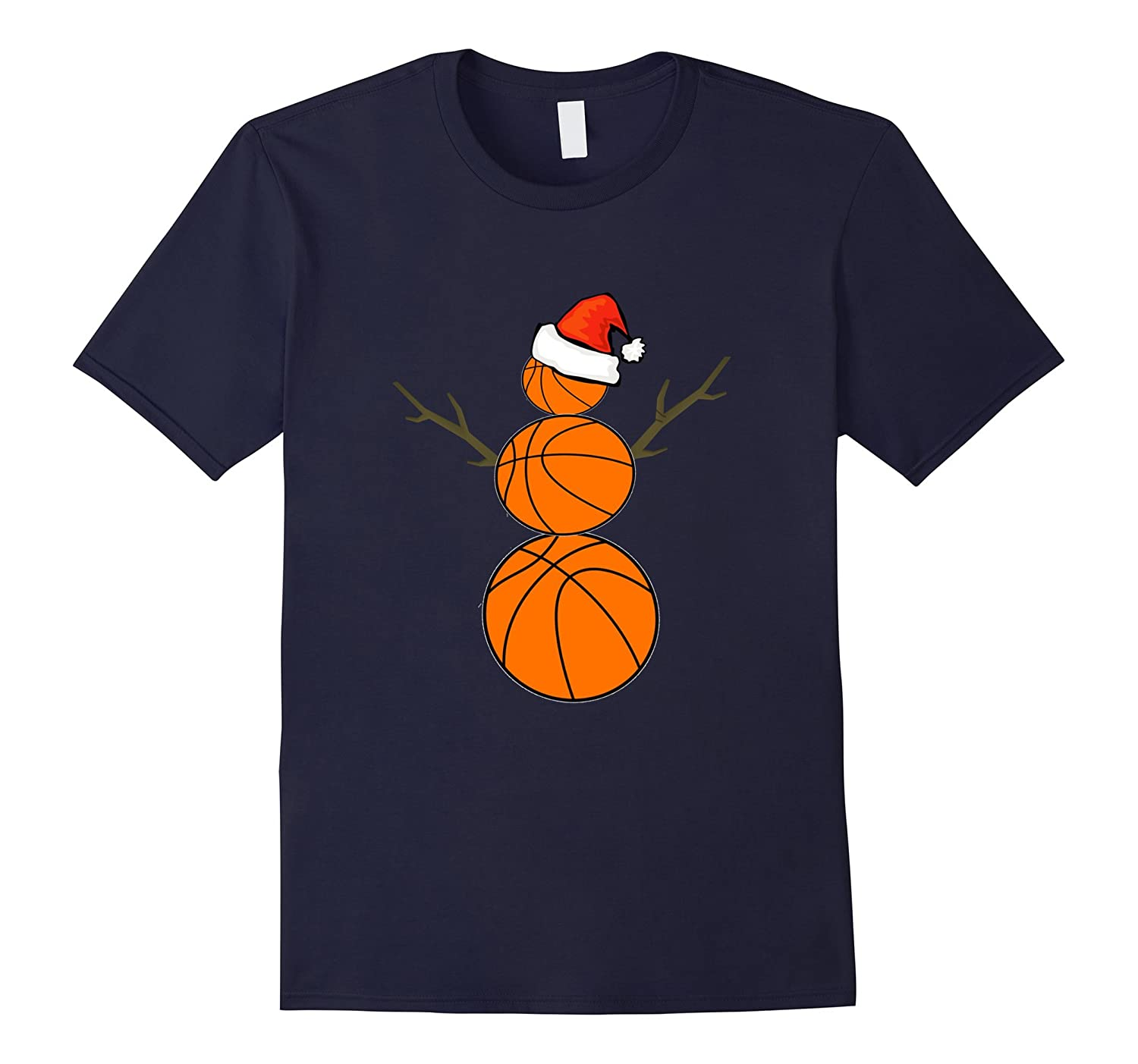 Funny Christmas Shirts Basketball Snowman T-Shirt-TD