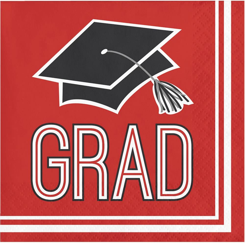 Creative Converting 360 Count School Spirit Paper Beverage Napkins for Graduation Party, Classic Red