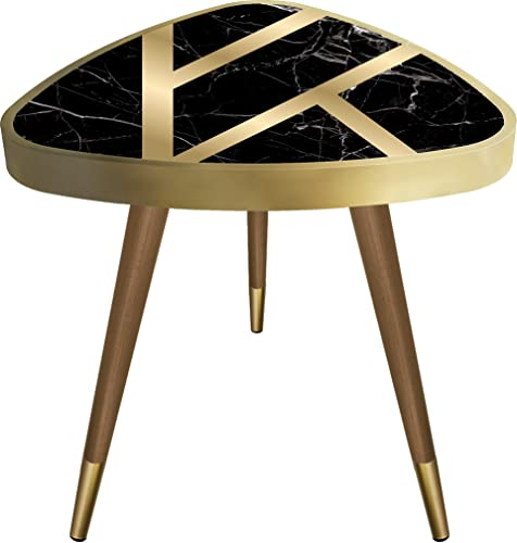VHD Black Gold Marble Triangle Side Table End Table Accent Coffee Table Sofa Table Small Tables for Living Room Bedroom Balcony Family and Office, Modern Home Decor, Easy Assembly 21.6in x 17.7in