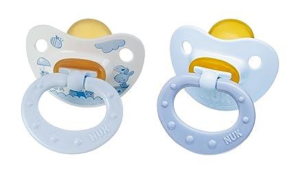 Nuk 710108 - Chupetes de látex (2 unidades, T1), color azul ...