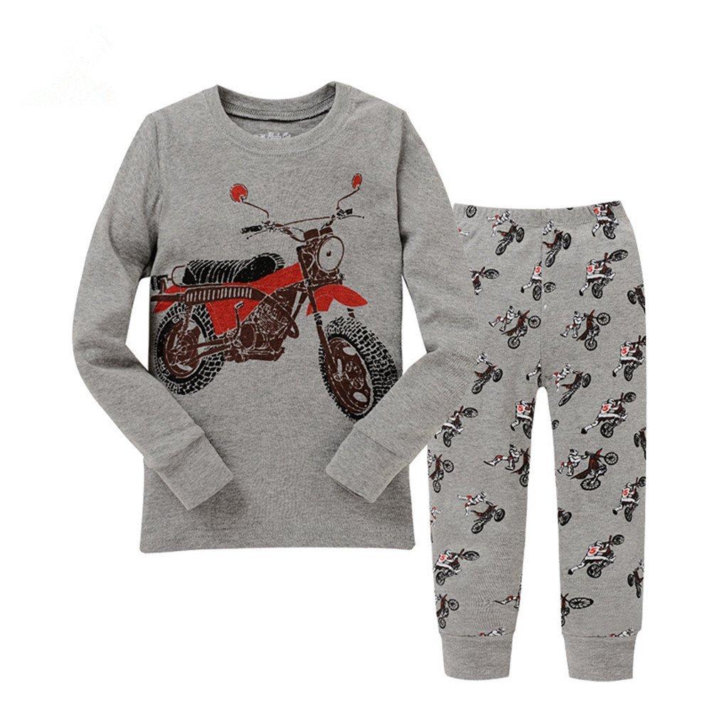 Kidsmall Motorcycle Baby Boys Pajama Set Sleepwear 100% Cotton 2T-7T no
