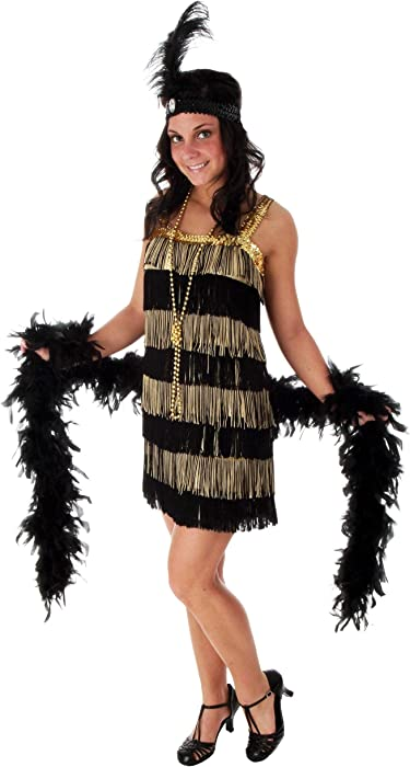 Gold and Black Flapper Dress Plus Size 1920s Flapper Dress Costume
