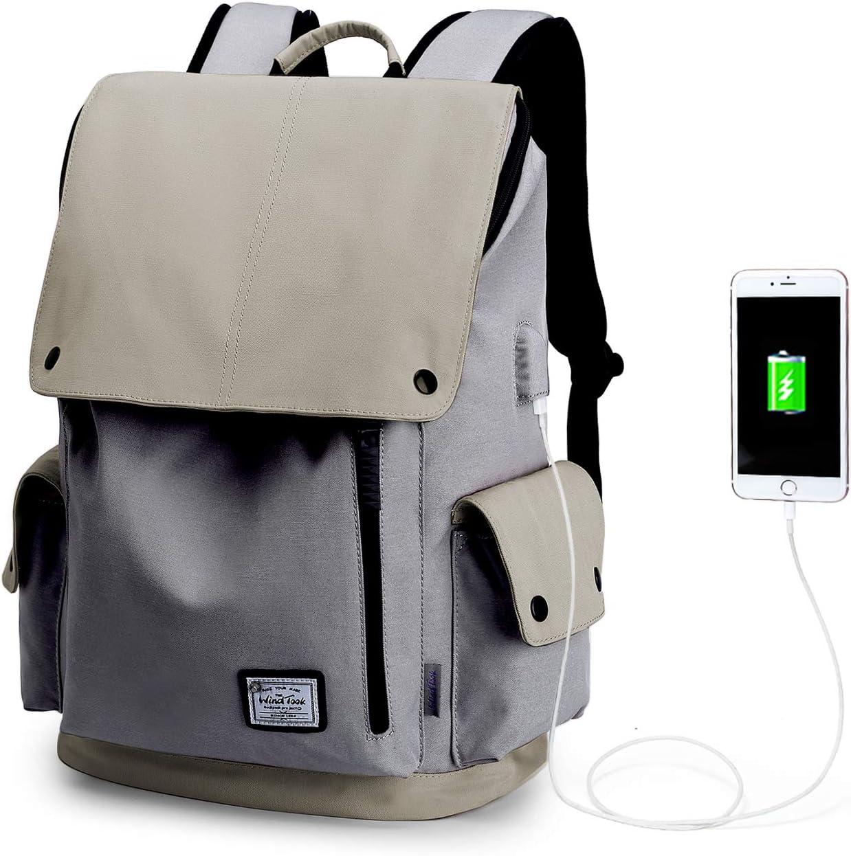 Wind Took Sac /à Dos Loisir pour Ordinateur Portable 15.6 Pouces avec Port de Charge USB Sac Scolaire pour Femme ou Homme
