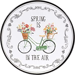 Red Co. Decorative Round White Metal Wall Hanging Art Décor Ornament Sign, 12 Inches – Spring is in The Air