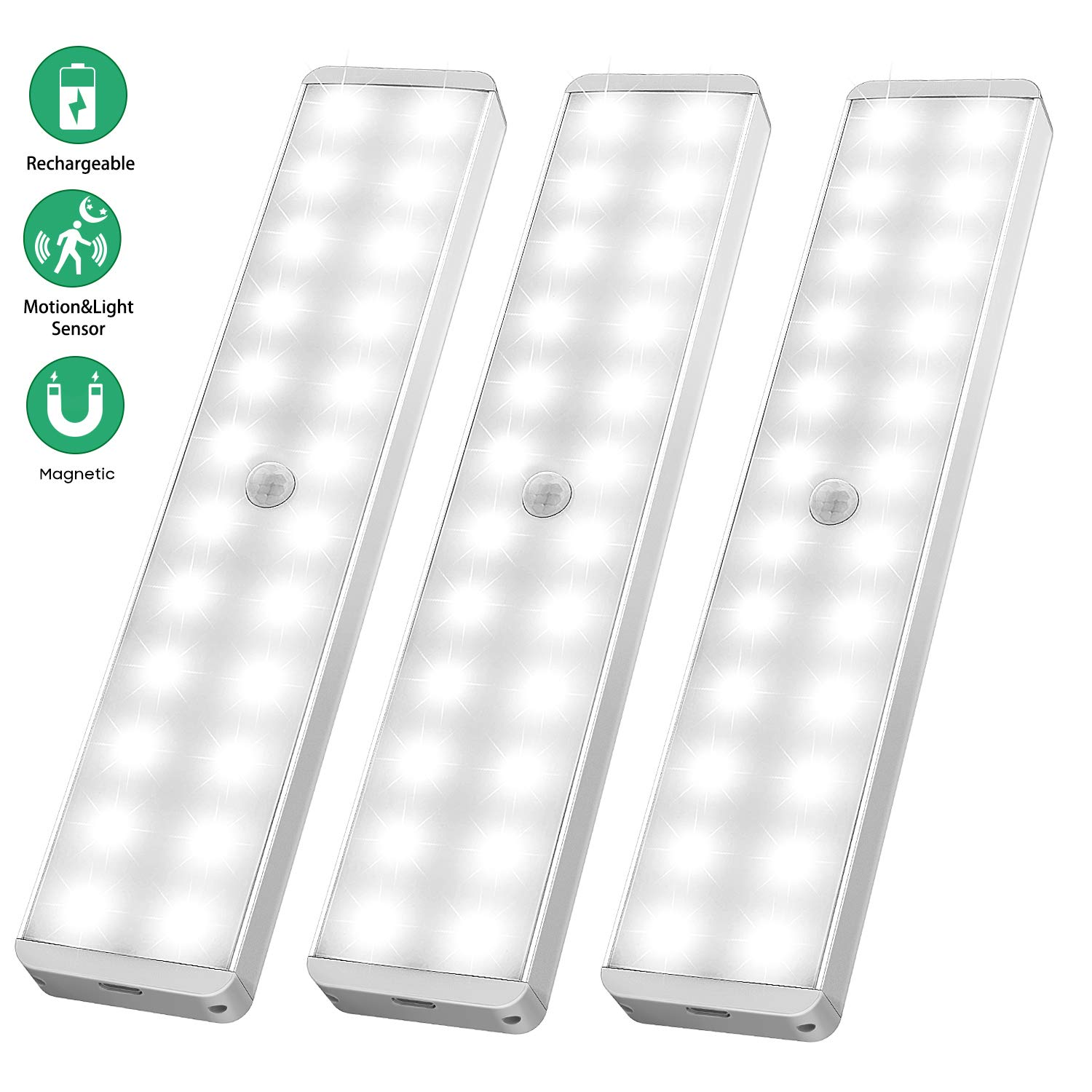 LED Closet Light, 24-LED Newest Version Rechargeable Motion Sensor Closet Light Wireless Under Cabinet Light with Large Battery Life for Closet,Cabinet,Wardrobe,Kitchen,Hallway (3 Pack)