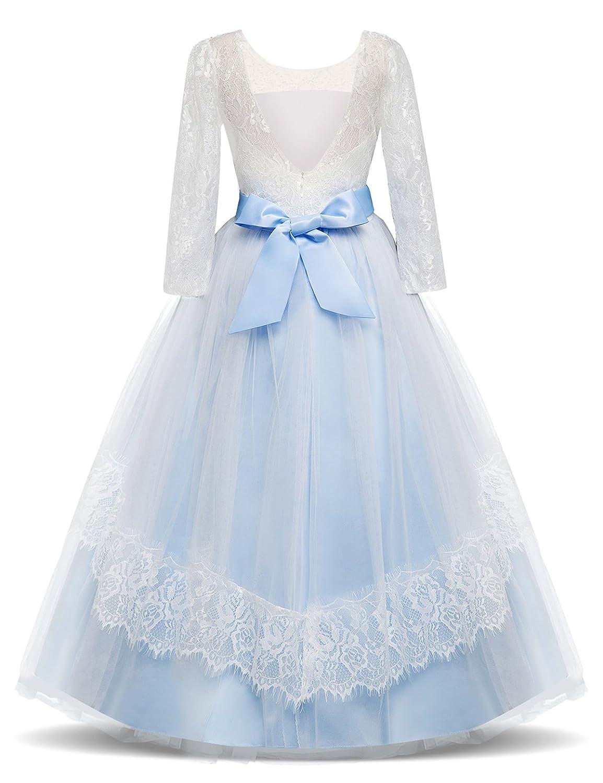 NNJXD Vestito Cerimonia Nuziale Principessa Vestito Promenade Ricamo Spettacolo Ragazze