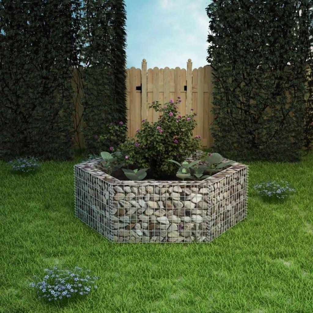 yorten Jardinera Hexagonal de Gaviones Borde para Lechos de Fores y Plantas en Jardín o Patio 160x140x50 cm