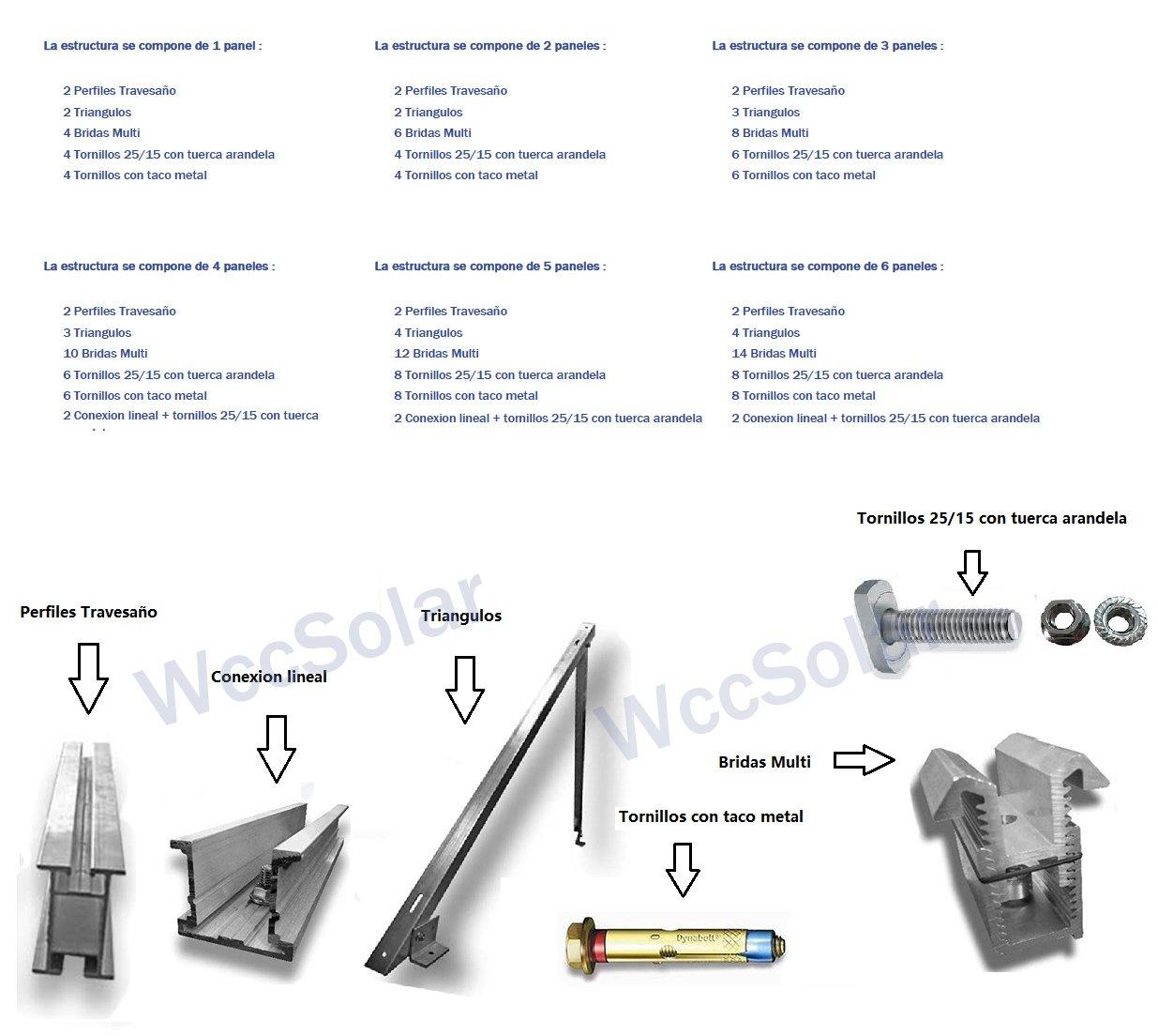 Estructura Soporte Solar Aluminio Suelo (Para todos tipos de Panel) (for 3 panel): Amazon.es: Bricolaje y herramientas