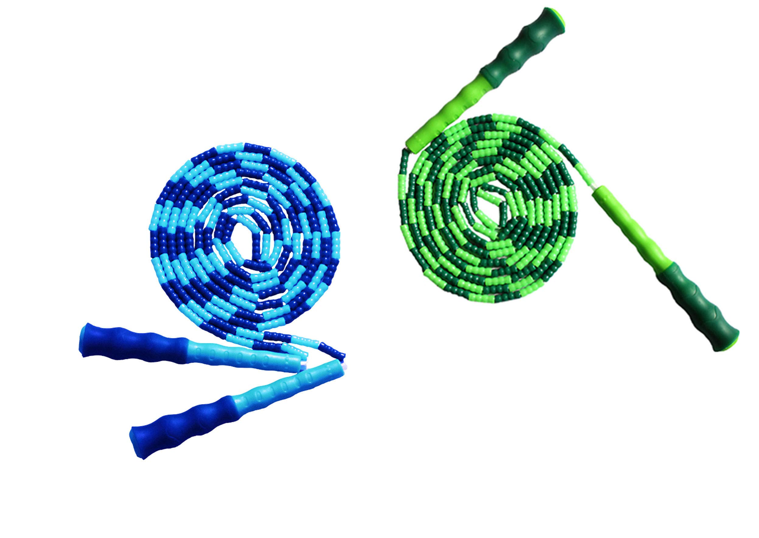 LETUSPORT 9 Feet Adjustable Beaded Segmented Jump Rope for Women Men Kids Lightweight Work Out Speeding Jumping Ropes (Blue+Green, 2 pcs)