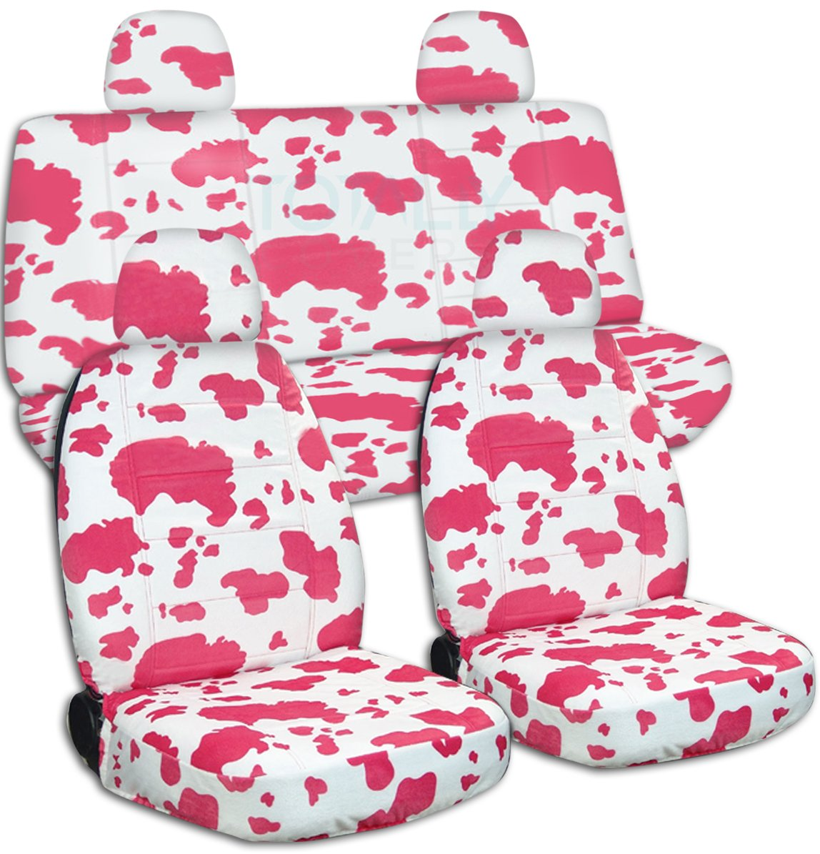 - Semi-Custom Fit Headrest Covers: Cow Full Set 30 Prints 2 Front + 2 Rear Big Pattern Animal Print Car Seat Covers w 4 Will Make Fit Any Car//Truck//Van//SUV