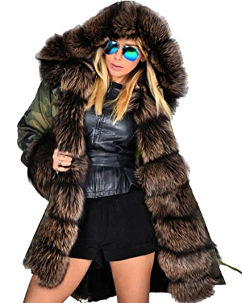 72cee6f9071 Roiii Thickened Dark Brown Faux Fur Amry Green Camouflage Parka Women  Hooded Long Winter Jacket Overcoat