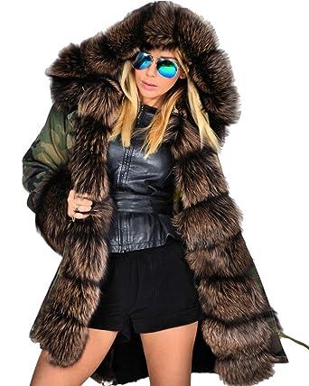 b5d87d504329 Roiii Hiver Lady Femmes Veste Parka épaississent Longueur Capuche Manteau  Chaud Outwear Taille 36-52
