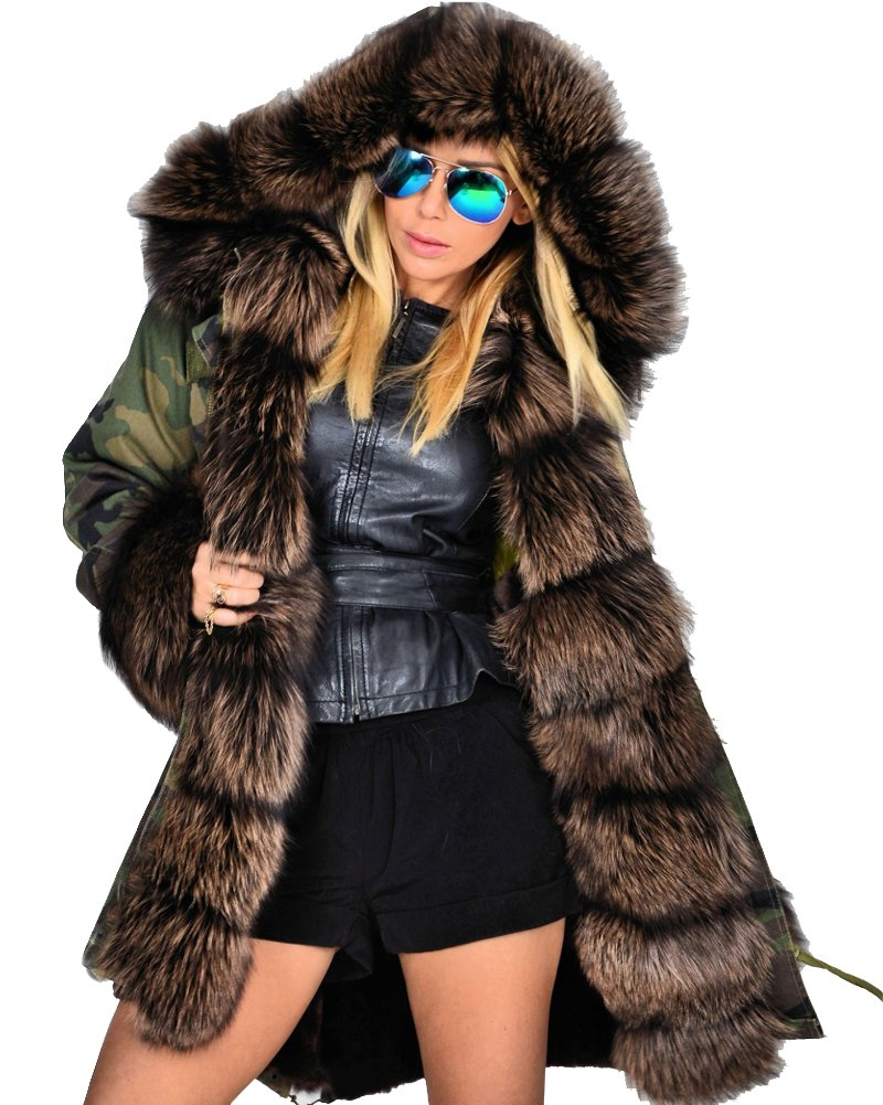 Roiii Thickened Dark Brown Faux Fur Amry Green Camouflage Parka Women Hooded Long Winter Jacket Overcoat Plus Size S-3XL (XX-Large, Dark Brown)
