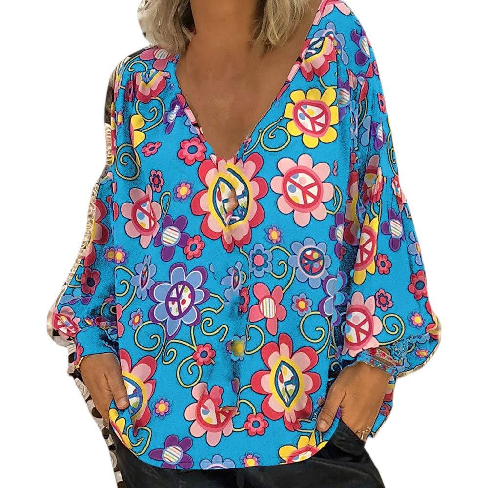Chemise Tops Femmes Xinantime T-shirt /à Manches Longues Chemise Imprim/é Floral Top Blouse Pull Veste chaude Automne hiver