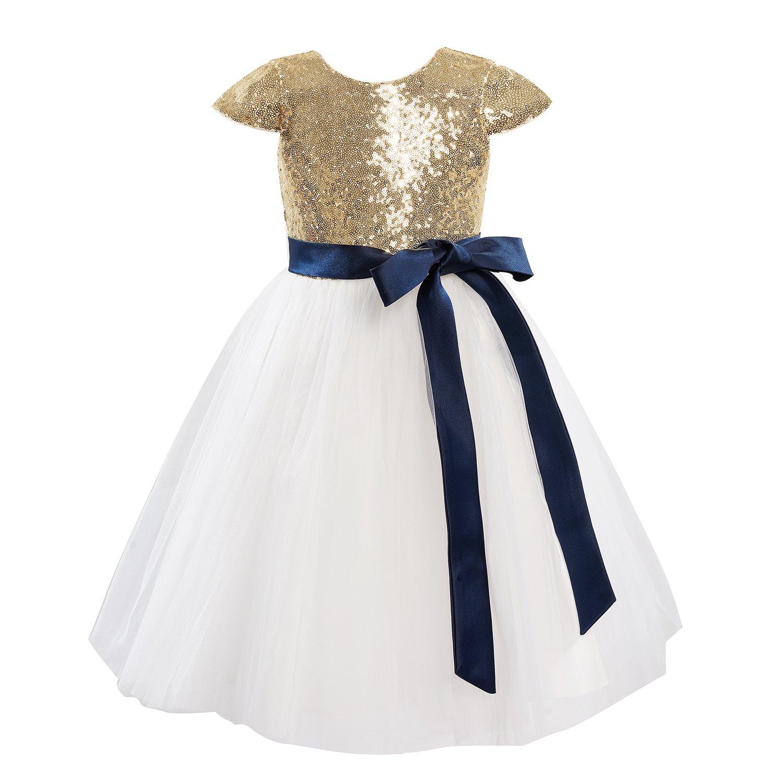 927ac527b90 Amazon.com  Dresslane Gold Sequin Ivory Tulle Wedding Flower Girl Dress Cap  Sleeves  Clothing